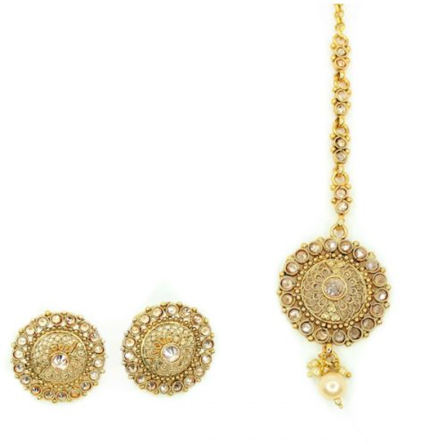 Indian Jewelry RIMA Stud Earring Tikka Set Kundan Polki Set Antique Gold Tikka Set