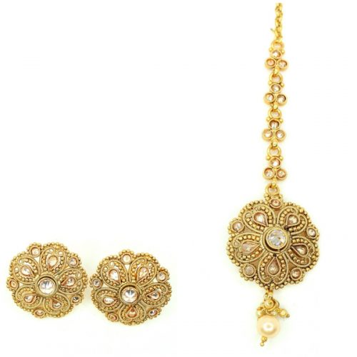 Indian Jewelry Rushna Stud Earring Tikka Set Kundan Polki Set Antique Gold Tikka Set