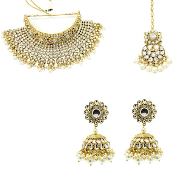 Indian Jewelry Gold Bridal Set Pachi Kundan Royal Choker Set