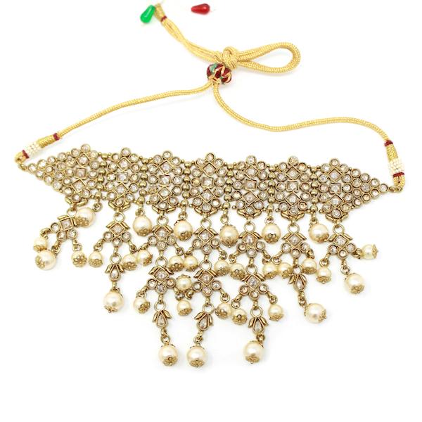 Indian Jewelry Samira Choker Necklace Set Polki Antique Gold