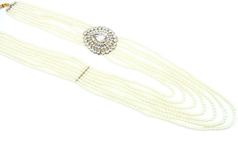 Indian Jewelry Sanjog Sherwani Necklace Pearl Haar