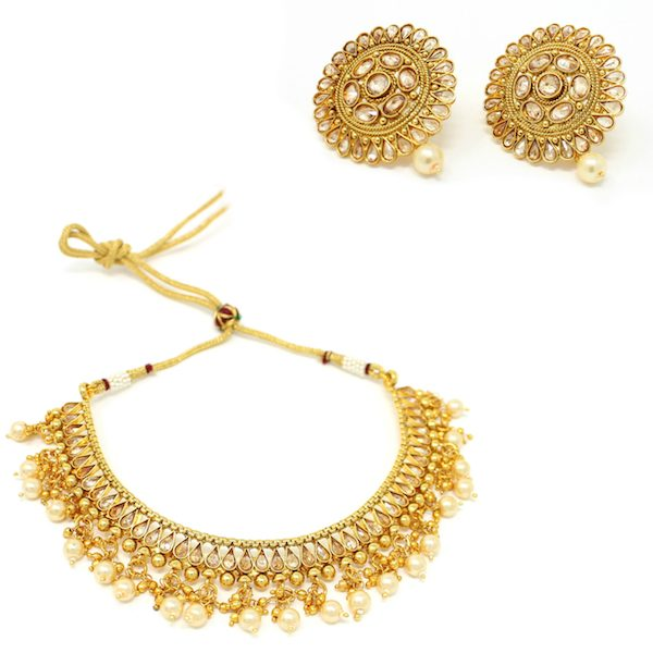 Indian Jewelry Polki Necklace Set With Stud Earrings