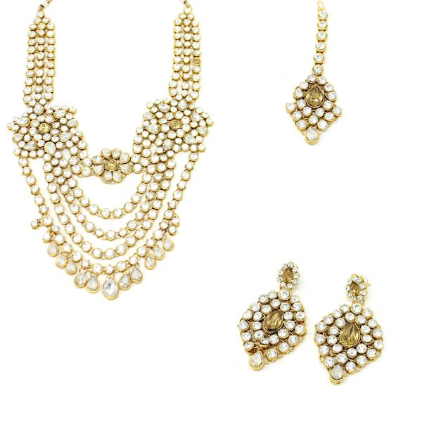 Indian Jewelry Rani Haar Set with Earrings Tikka