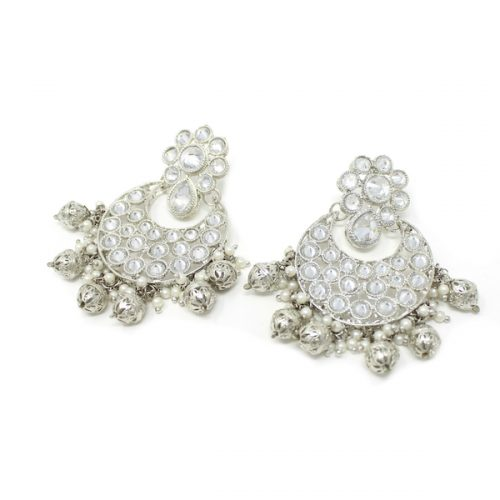 Indian Jewelry Subhi Silver Earring Tikka Set