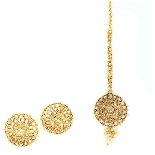 Indian Jewelry SURAI Stud Earring Tikka Set Kundan Polki Set Antique Gold Tikka Set