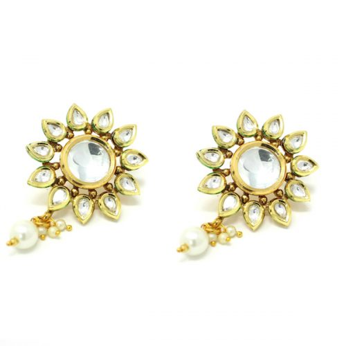 Indian Jewelry Kundan Artificial Stone Stud Earrings Surajani
