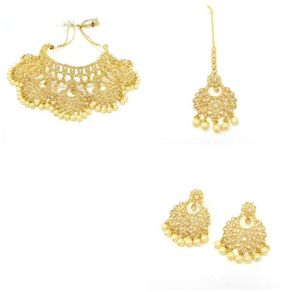 Indian Jewelry Polki Set Tikka Necklace Earrings Choker Set