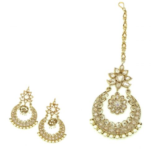 Indian Jewelry Tariya Tikka Set Kundan Polki Set Antique Gold Tikka Set