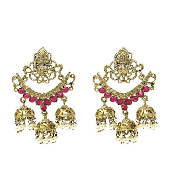 Artificial Polki Indian Jewelry Earrings Stone Jhumka Jhumki