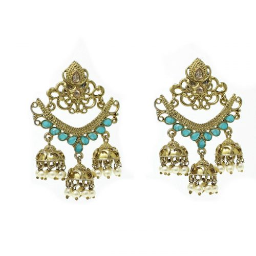 Artificial Polki Indian Jewelry Earrings Stone Jhumka Jhumki
