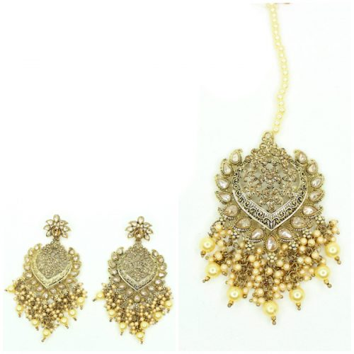 Indian Jewelry Amirah Tikka Set Kundan Polki Set Antique Gold Tikka Set