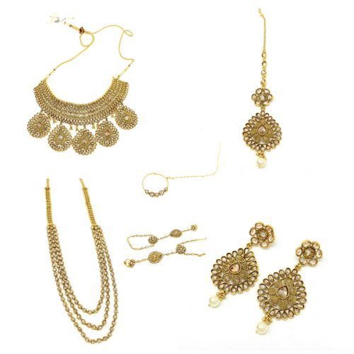 Indian Jewelry Polki Set Tikka Necklace Earrings Full Bridal Set