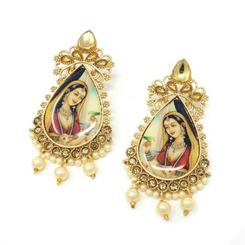 Indian Jewelry Kundan Artificial Stone Maharani Earrings Sitadevi