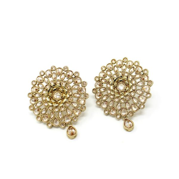 Indian Jewelry Polki Stud Earrings Yanti